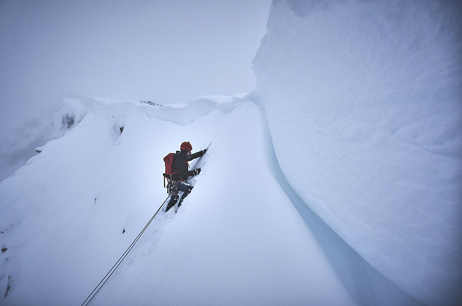 A climber approaches the cornice near the summit of Stob Coire nan Lochan