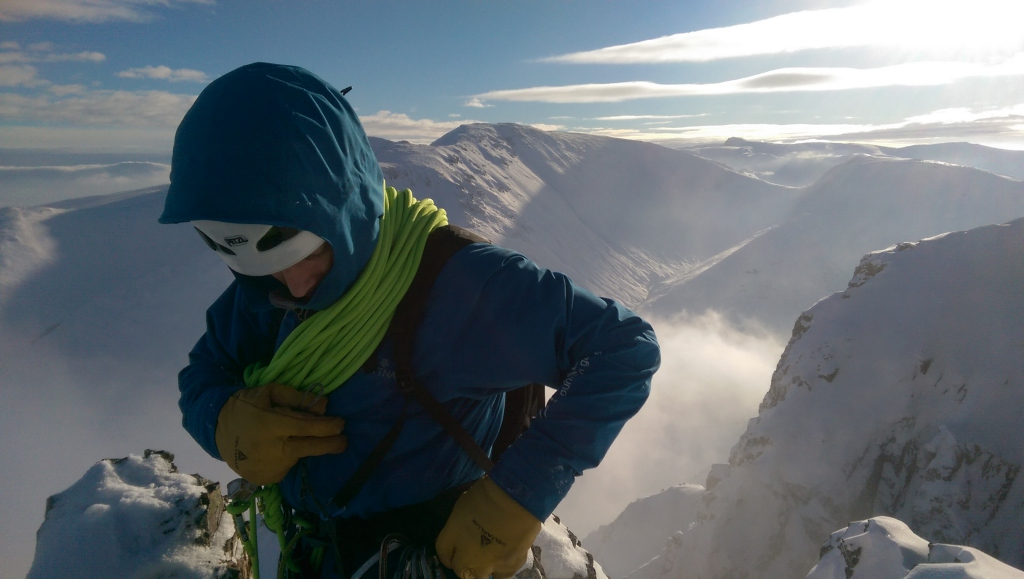 Mike Pescod on the summit of Buachaille Etive Mor