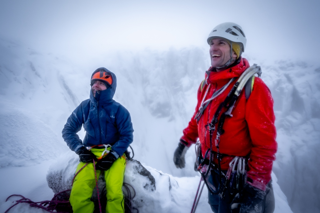 Willis Morris and Mike Pescod on top of Babylon, Ben Nevis