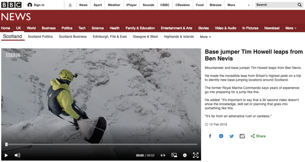 Base jumping on the BBC