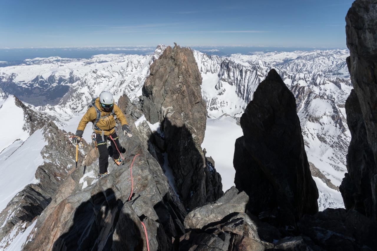 Climbing the Finsteraarhorn NW Ridge