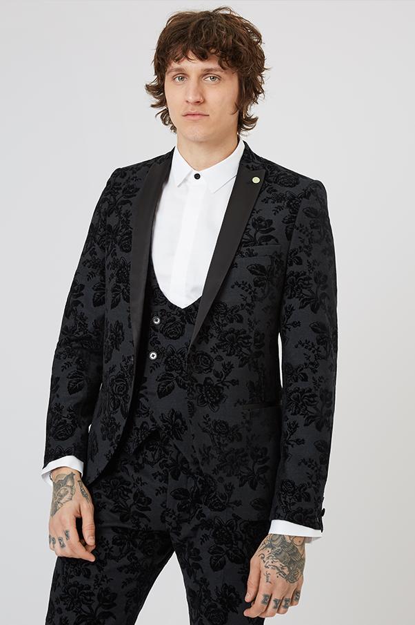 Fleet Floral Skinny Fit Tuxedo Jacket Black