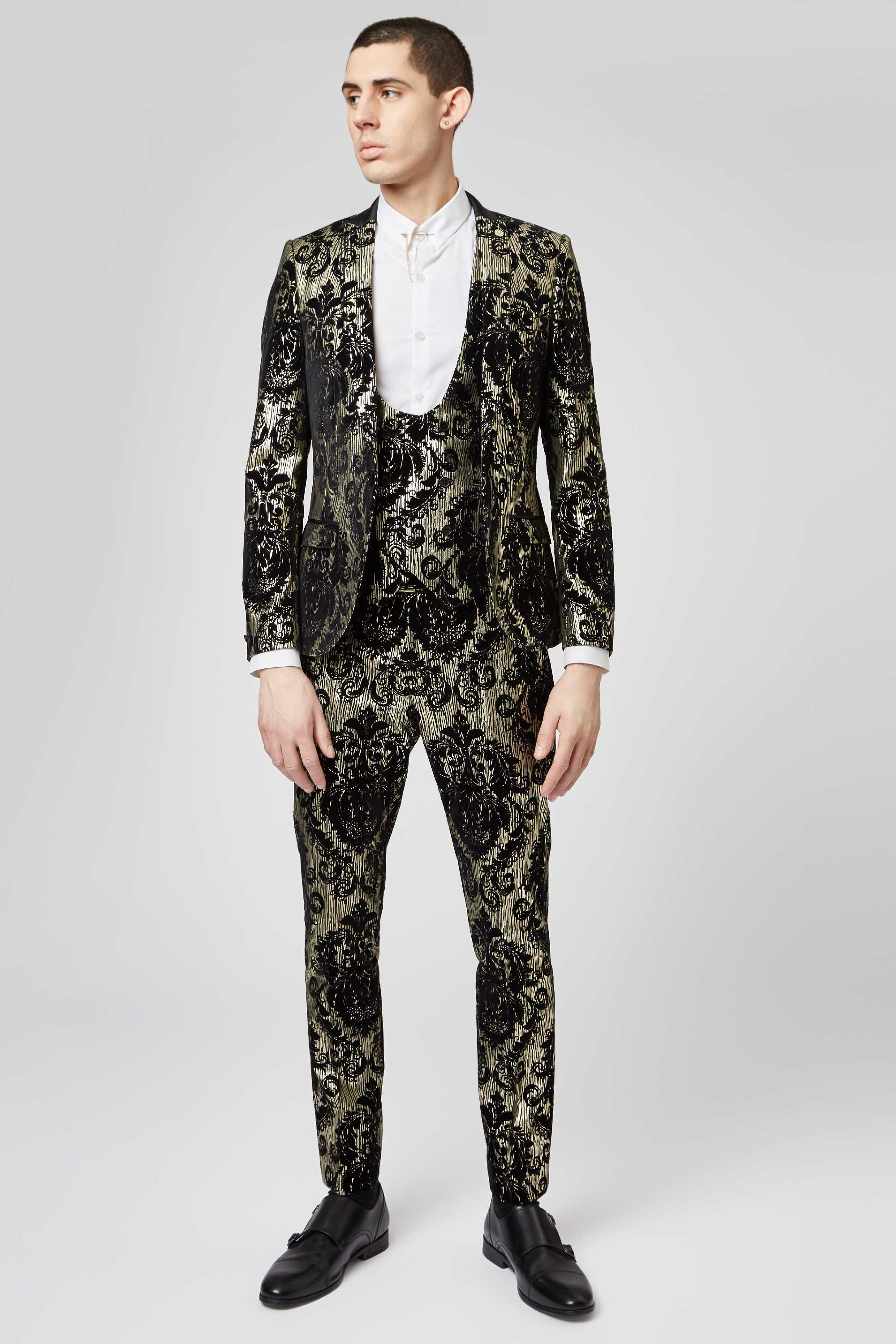 PRYOR SKINNY FIT BLACK SUIT JACKET WITH BAROQUE FLOCK AND FOIL PRINT