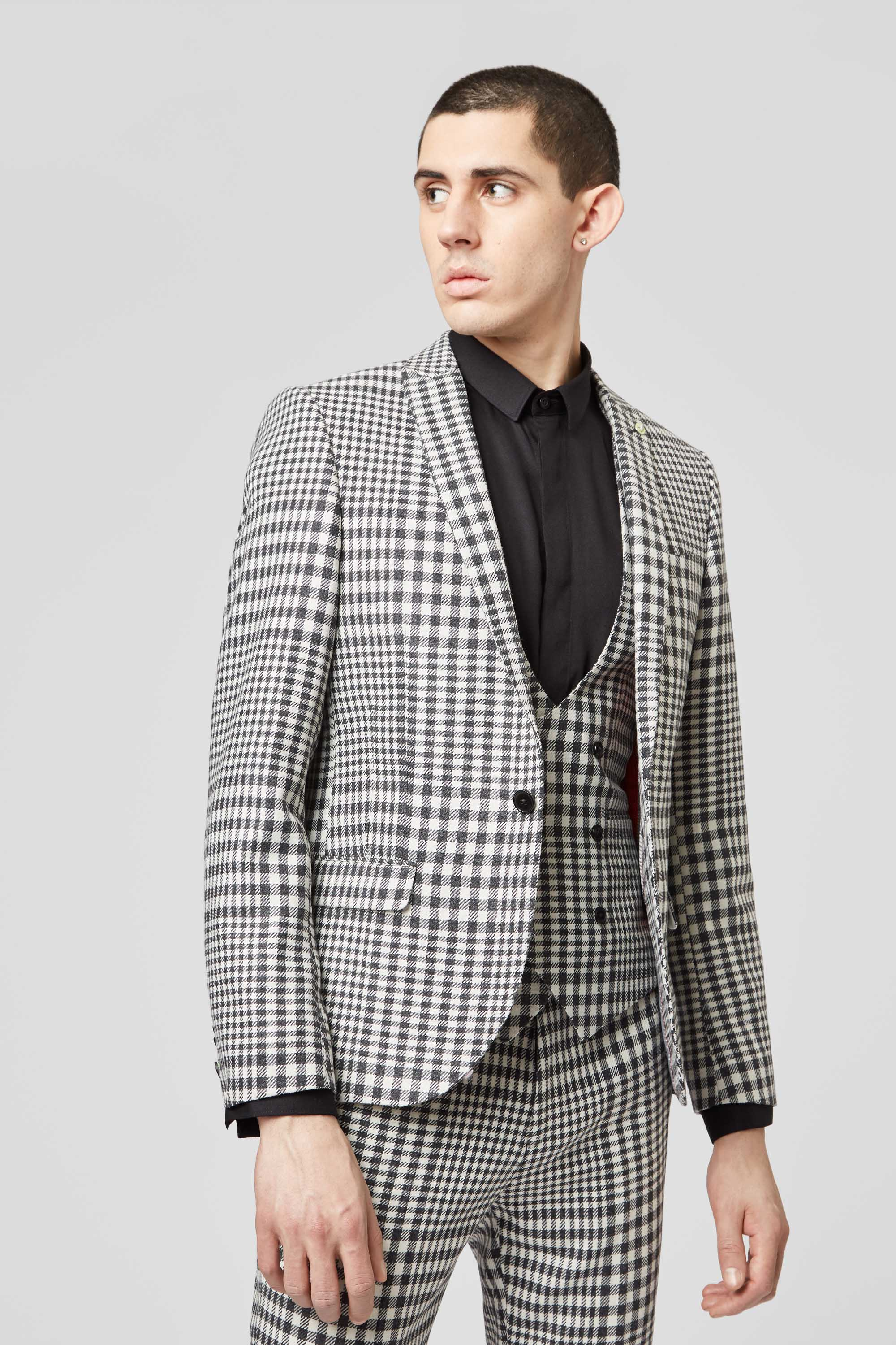 PAGLIA SKINNY FIT BLACK AND WHITE GINGHAM SUIT JACKET