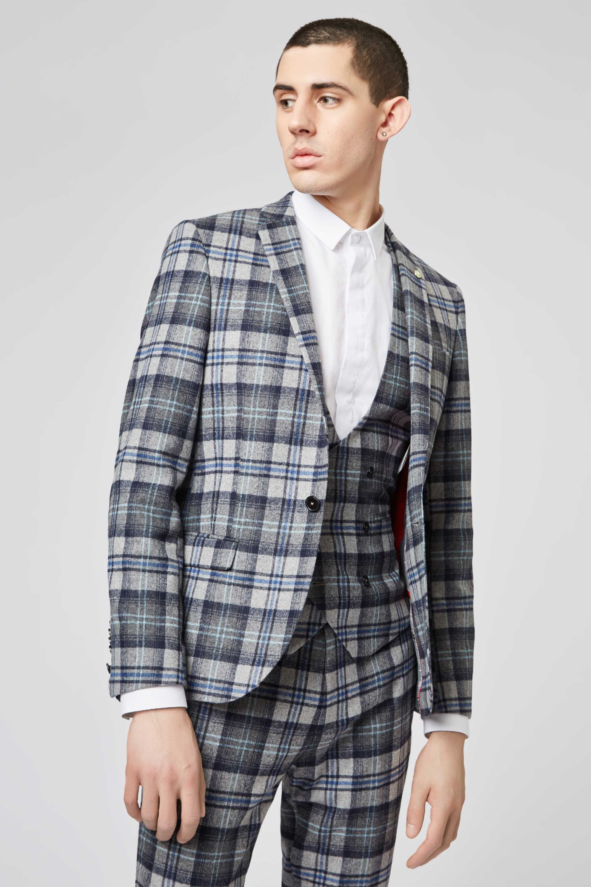 HOFFMAN SKINNY FIT GREY TARTAN SUIT JACKET