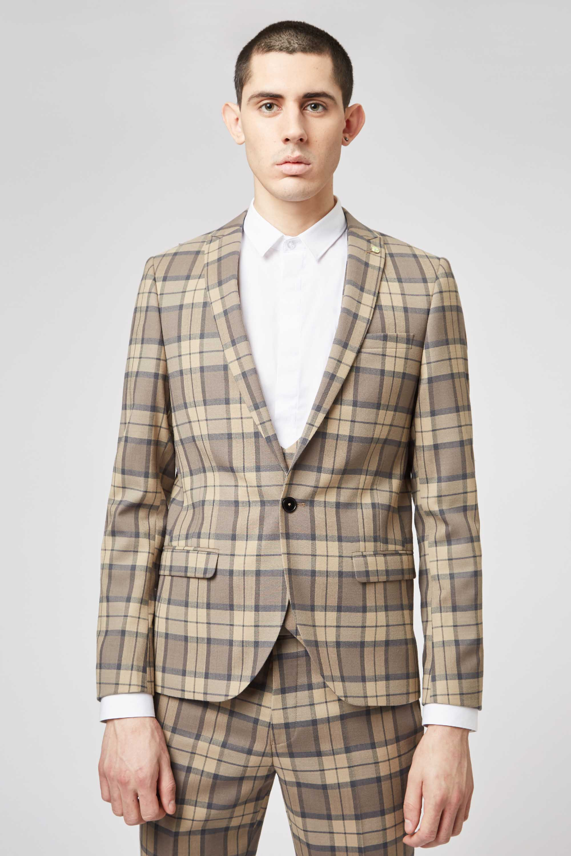 GINGER SKINNY FIT TARTAN JACKET IN TAN