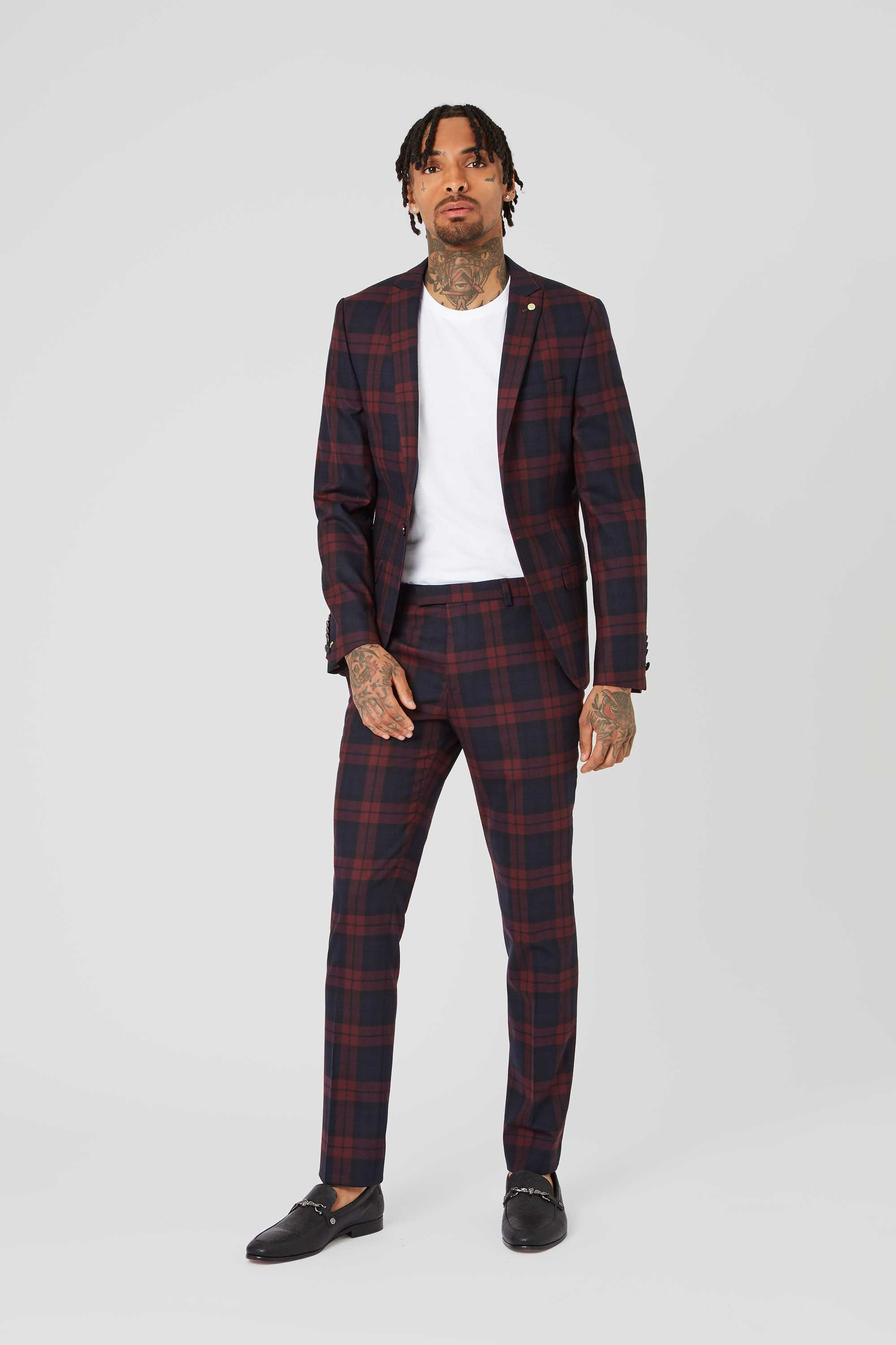GINGER SKINNY FIT JACKET IN BURGUNDY TARTAN