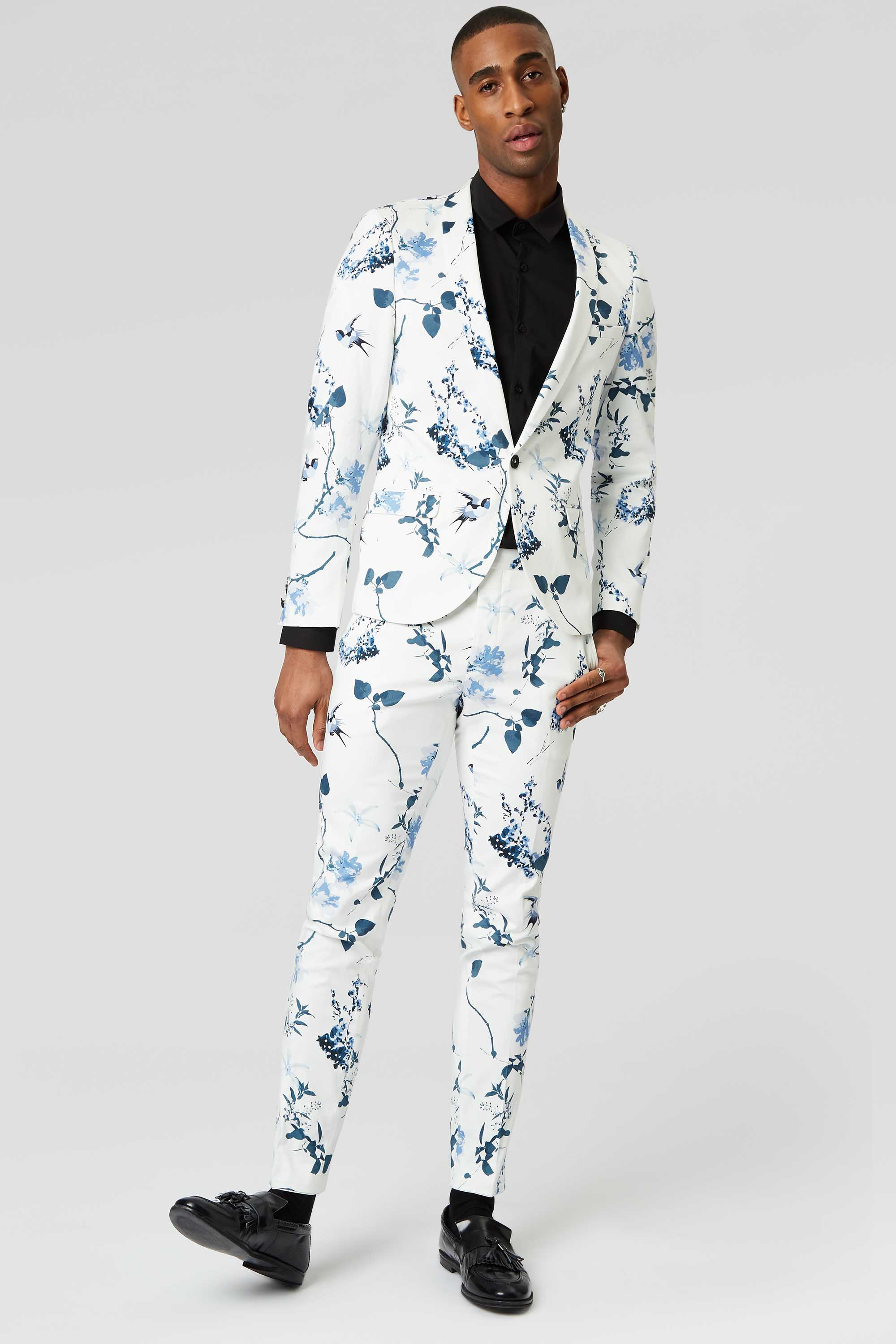 POM SKINNY FIT WHITE SUIT JACKET WITH FLORAL PRINT