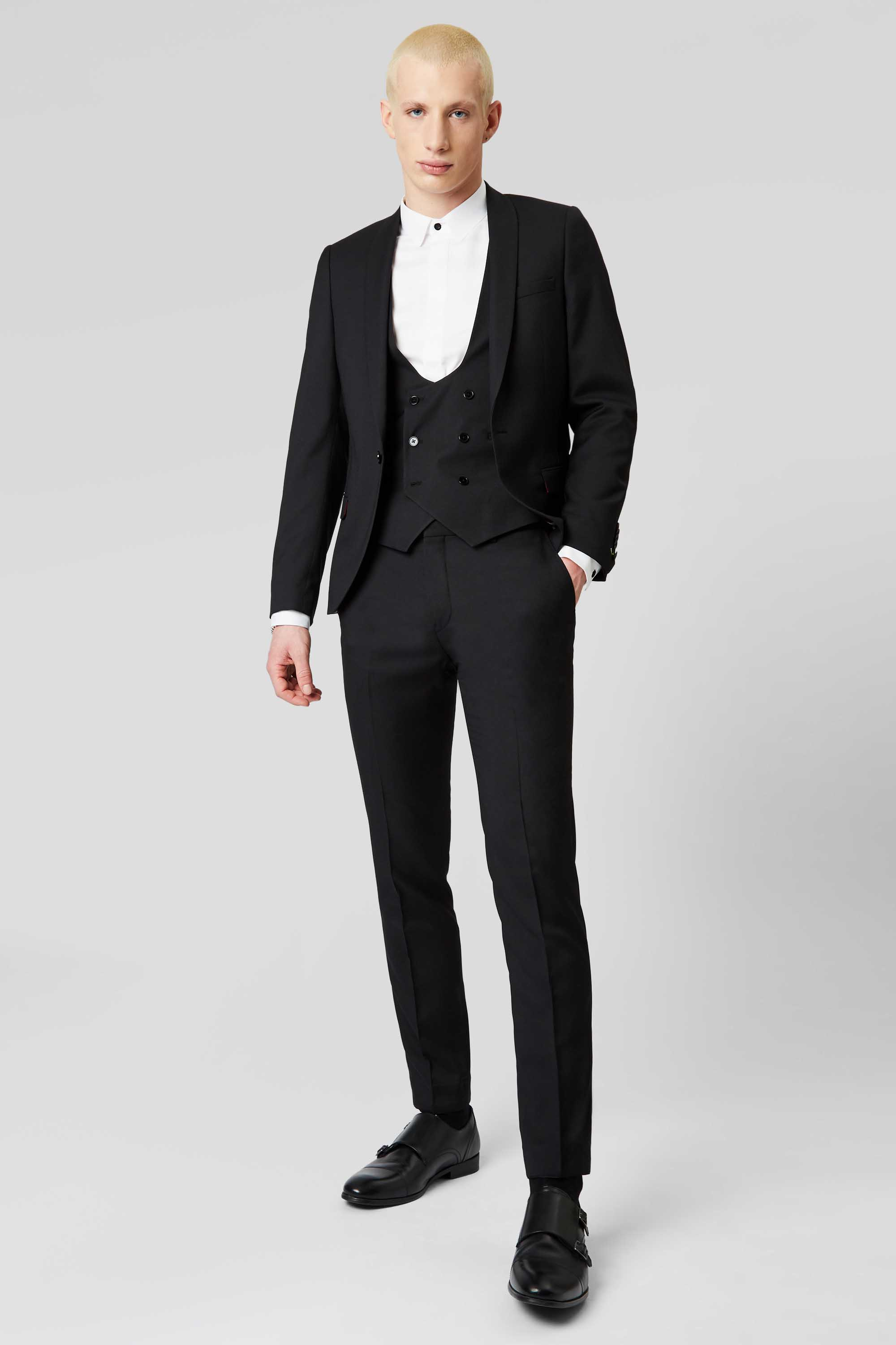 HEMMINGWAY SKINNY FIT SUIT JACKET IN BLACK - NEW ELLROY