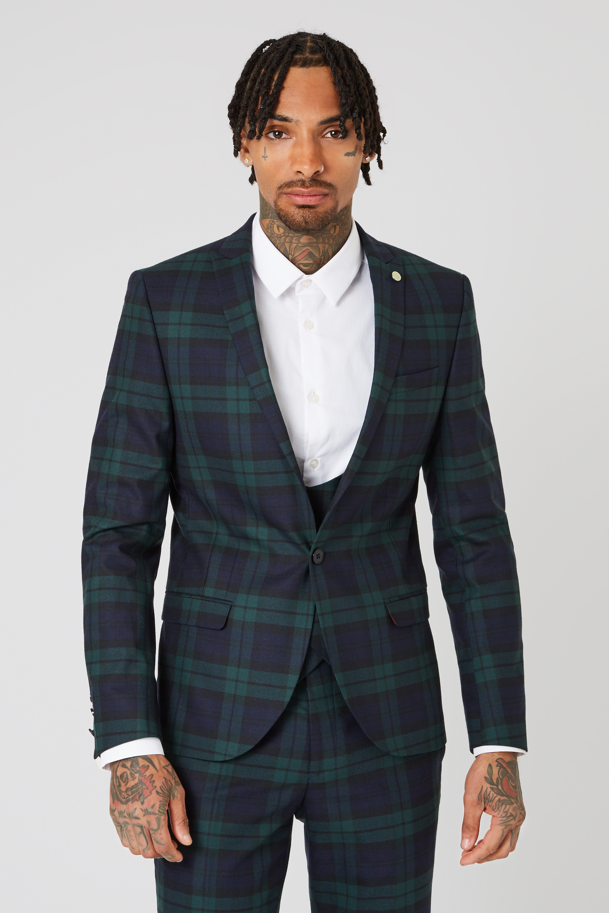 GINGER SKINNY FIT JACKET IN GREEN TARTAN