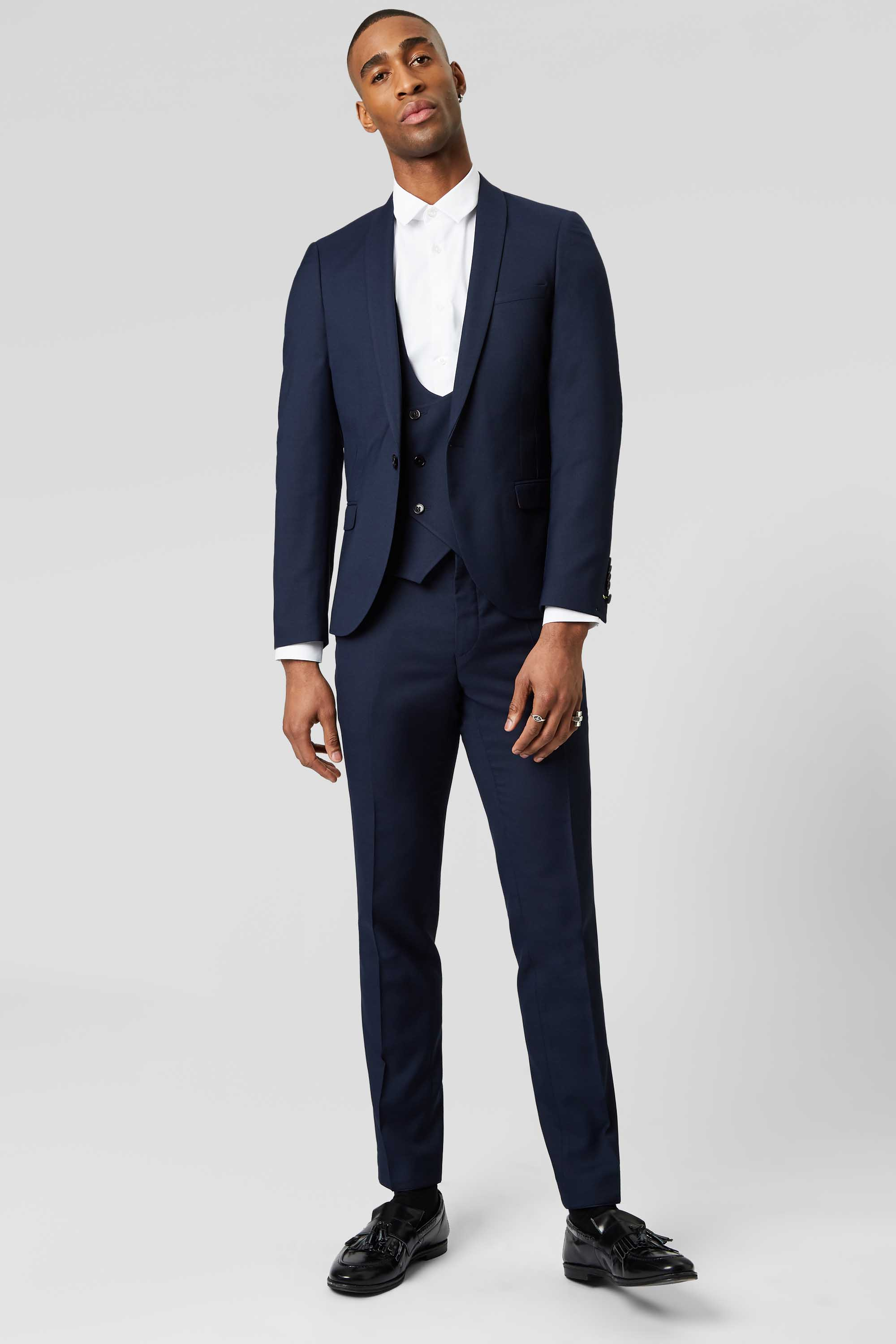 HEMMINGWAY SKINNY FIT SUIT JACKET IN NAVY - NEW ELLROY