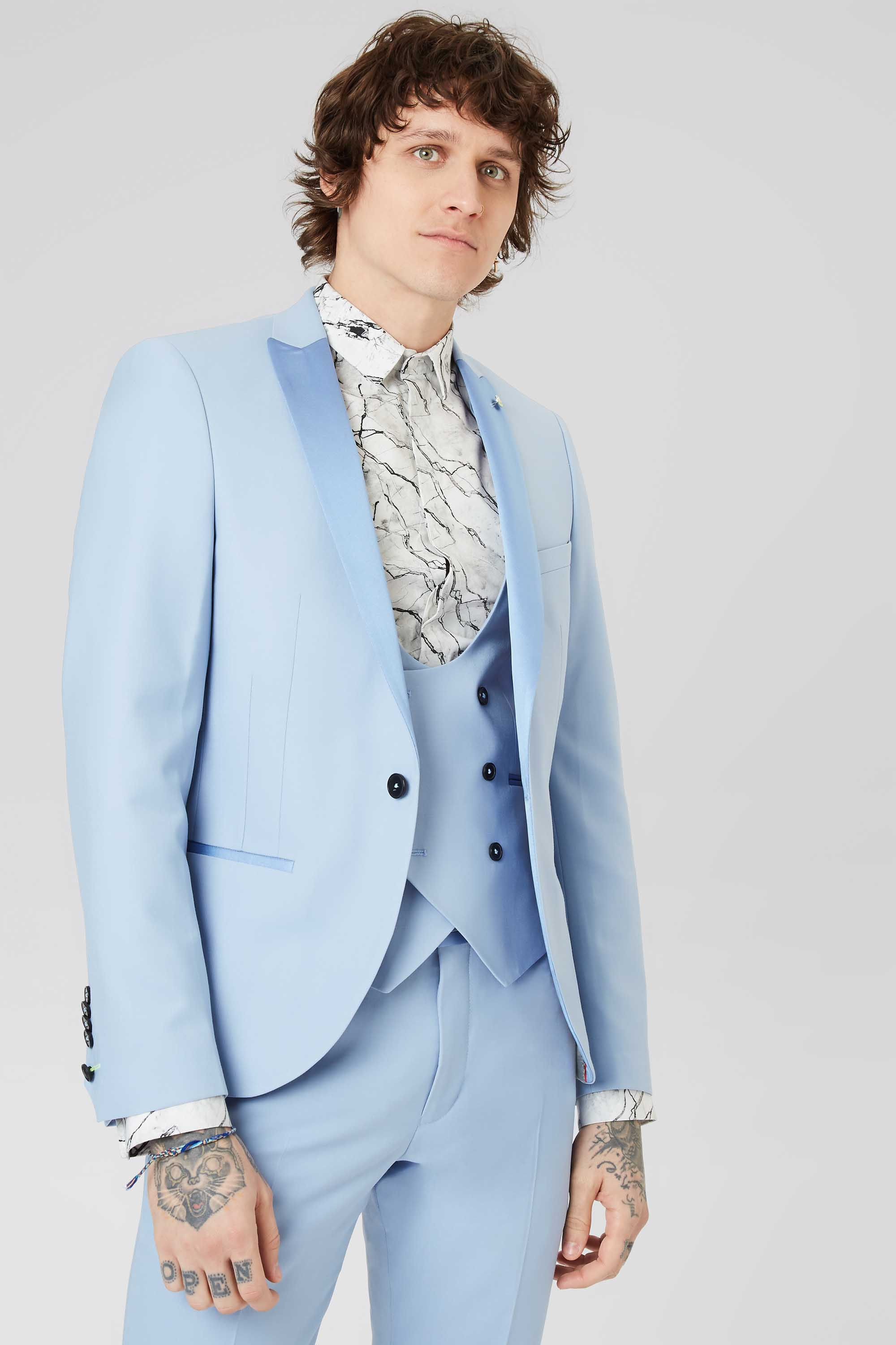 BRIAN SKINNY FIT TUXEDO JACKET IN ICE BLUE