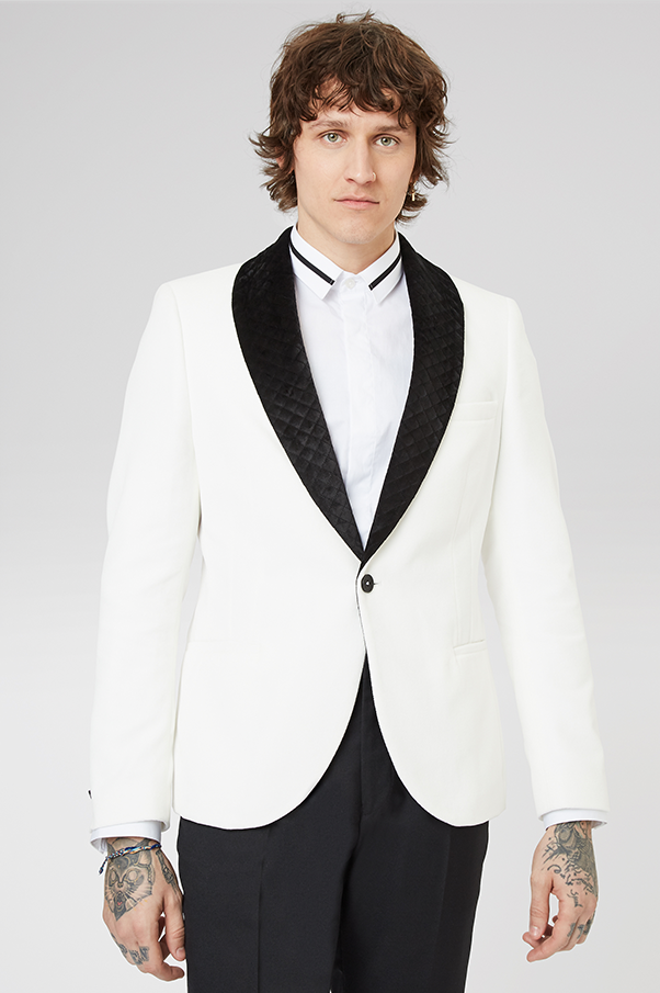 INFINITY WHITE VELVET JACKET WITH CONTRAST QUILTED LAPELS