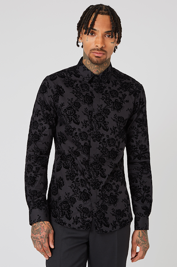 PRYOR SKINNY FIT BLACK shirt WITH BAROQUE FLOCK AND FOIL PRINT